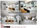 Mẫu nội thất liên thông phòng khách với bếp rộng và đẹp