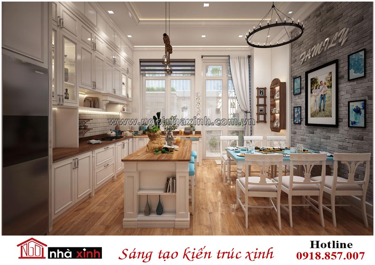 nội thất bếp đẹp mang phong cách Âu Châu nhà chị Hạnh ở Gò Vấp