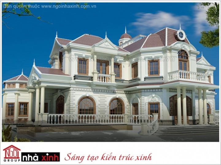 Mẫu Thiết Kế Biệt Thự Đẹp Nguy Nga, Tráng Lệ   Tân cổ điển   Mái Dốc   2 tầng   3 mặt tiền   Chị Liễu    BTNNX150