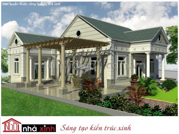 Mẫu Thiết Kế Biệt Thự Xanh Mát   Biệt Thự Vườn   Mái Dốc   2 Tầng   3 Mặt Tiền   Anh Long – Tiền Giang   BTNNX019