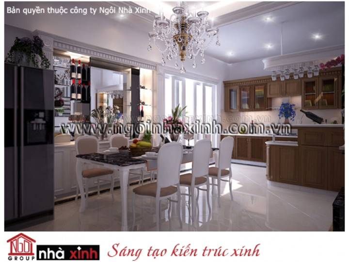 Mẫu Thiết Kế Nội Thất Phòng Bếp & Phòng Ăn Đẹp   Tân Cổ Điển   Chị Loan - Quận 8    NT.NNX129