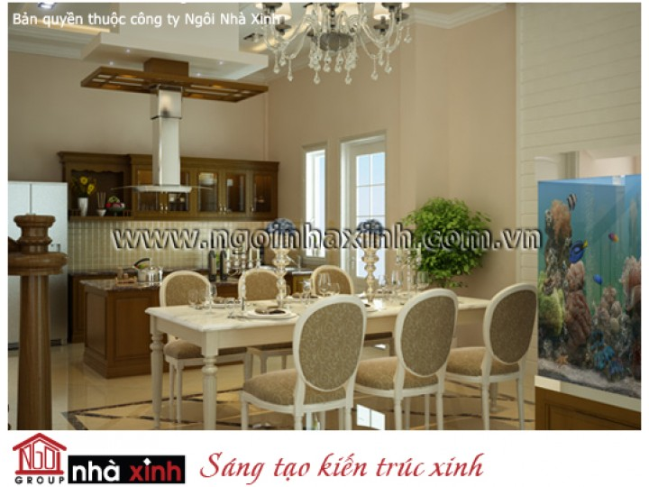 Mẫu Thiết Kế Nội Thất Phòng Bếp Đẹp   Tân Cổ Điển   Cô Nhì - Quận 9    NT. NNX056