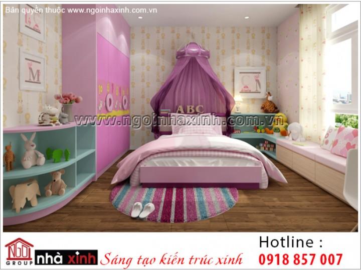 nội thất phòng ngủ bé gái đẹp nhà anh Tú do Nhà Xinh thiết kế