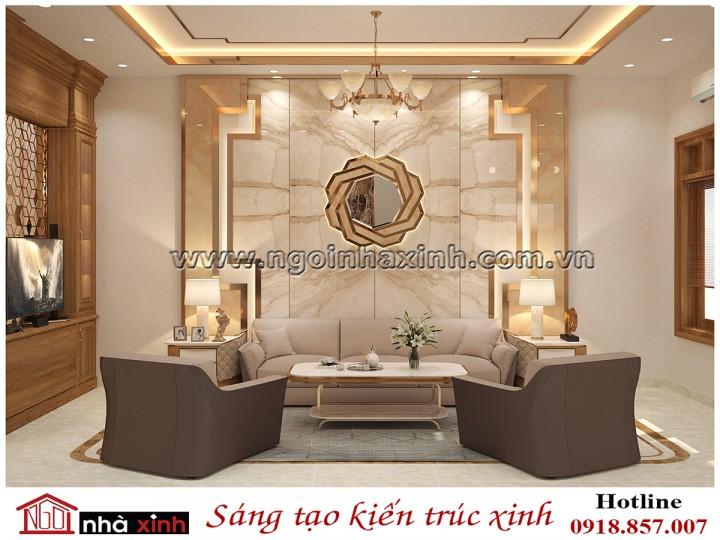nội thất phòng khách đẹp mang phong cách luxury nhà anh Tuấn do Nhà Xinh thiết kế