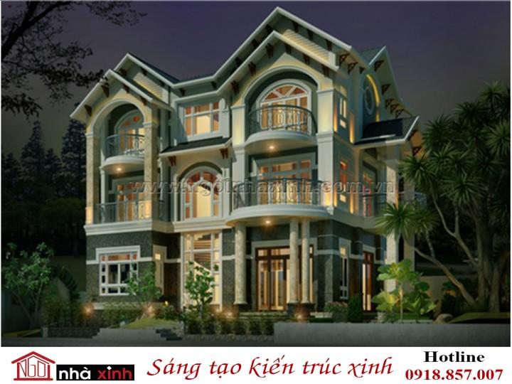 Mẫu Thiết Kế Biệt Thự Đẹp Sang Trọng | Tân Cổ Điển | Mái Dốc | 3 tầng | Anh Đăng - Quảng Ninh | BT.NNX131