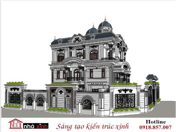 biệt thự, biệt thự 3 tầng, biệt thự cổ điển Pháp, biệt thự cổ điển kiểu Phap