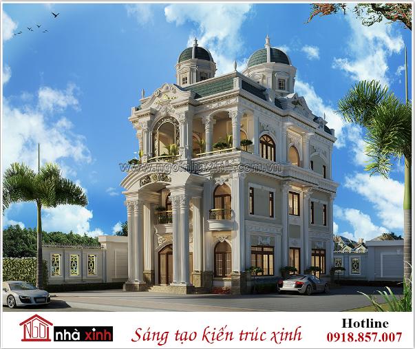 biệt thự 3 tầng, nhà xinh, biệt thự cổ điển kiểu Pháp