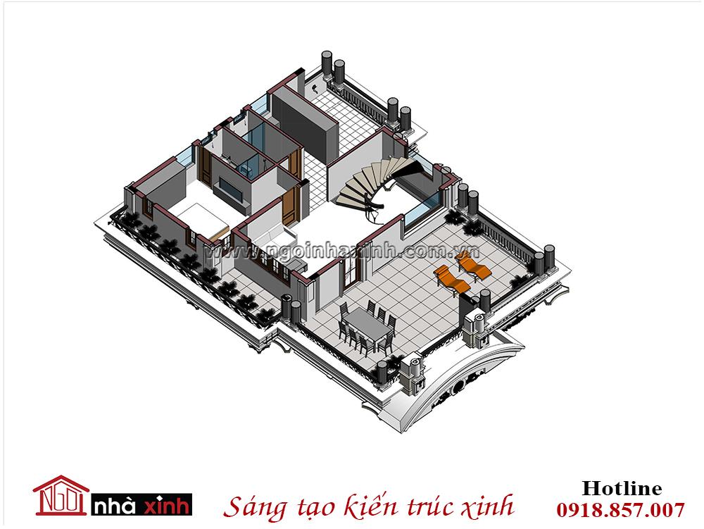 thiết kế biệt thự đẹp, phối cảnh tầng 2