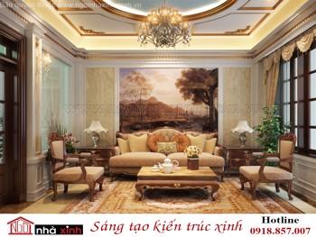 nội thất đẹp phòng khách cổ điển nhà chị Liễu ở Hà Nội do Nhà Xinh thiết kế