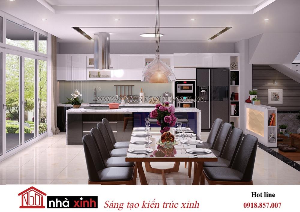 nội thất bếp đẹp mang phong cách hiện đại nhà anh Lâm do Nhà Xinh thiết kế