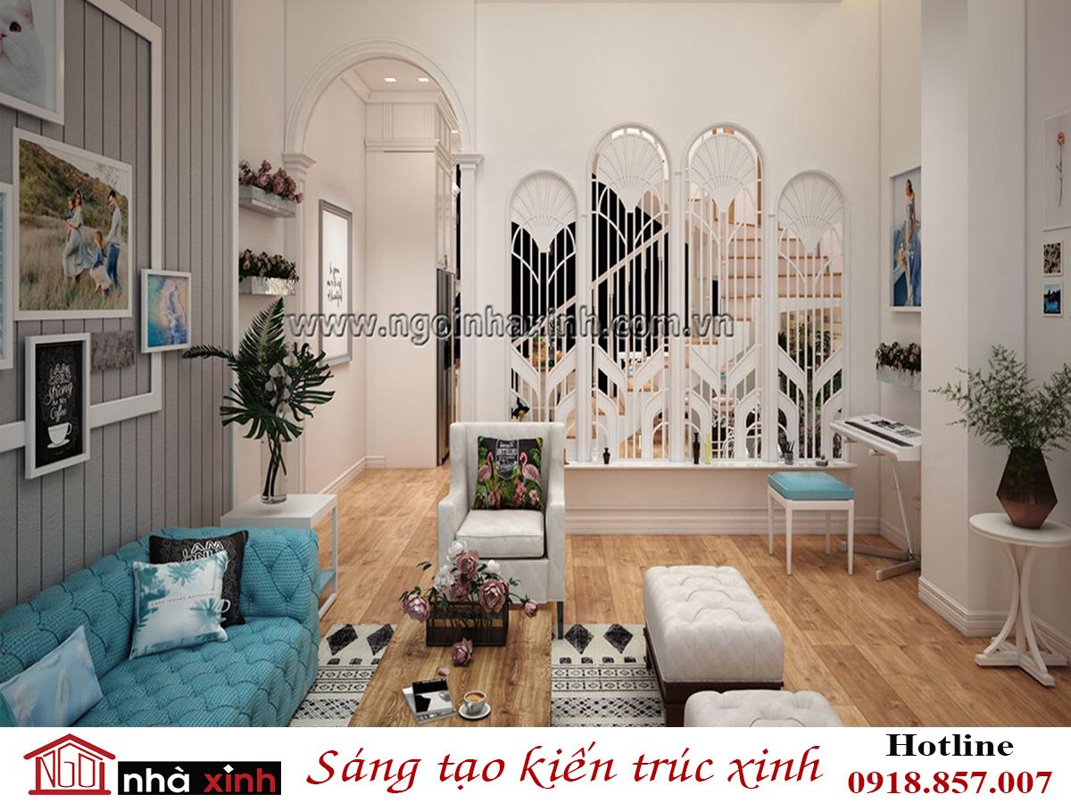 nội thất phòng khách đẹp mang phong cách Âu Châu nhà chị Hạnh do Nhà Xinh thiết kế