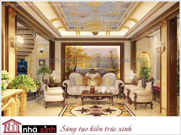 nội thất phòng khách đẹp mang phong cách hoàng gia nhà chị Liễu