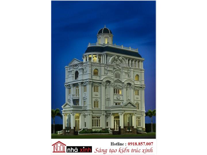 Mẫu Biệt thự đẹp | Cổ điển châu Âu | 3 tầng | 3 mặt tiền | Chú Chọn-Tân An, Long An | BT NNX 800