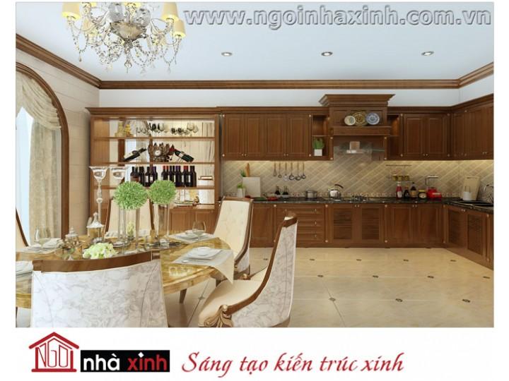 Mẫu nội thất  cao cấp phòng bếp cổ điển đẹp NNX-BCĐ06