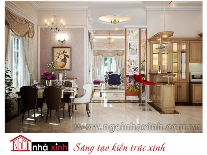 Mẫu nội thất  cao cấp phòng bếp cổ điển đẹp NNX-BCĐ07