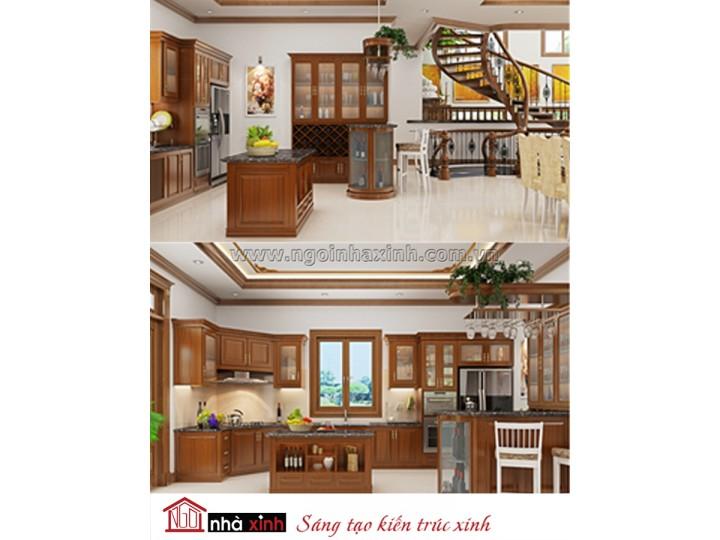 Mẫu nội thất  cao cấp phòng bếp cổ điển đẹp NNX-BCĐ08