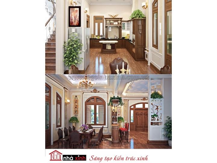 Mẫu nội thất  cao cấp phòng bếp cổ điển đẹp NNX-BCĐ10