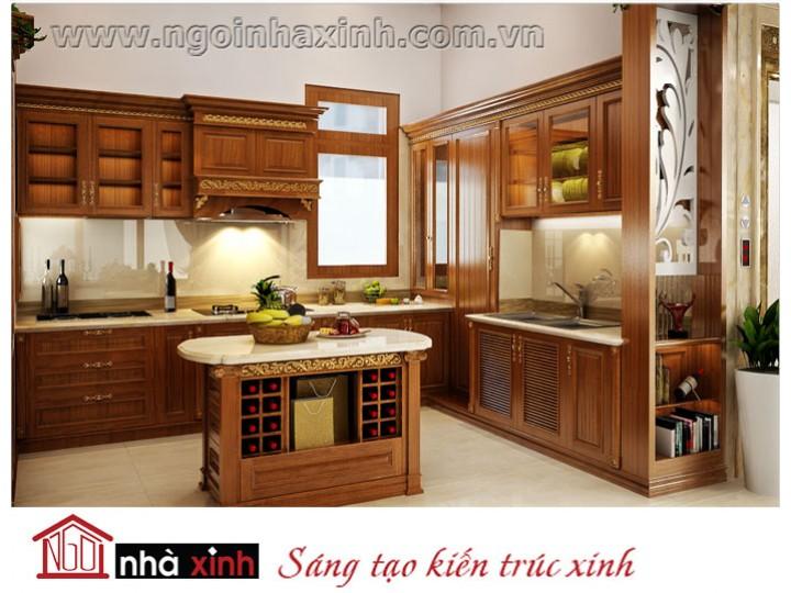 Mẫu nội thất  cao cấp phòng bếp cổ điển đẹp NNX-BCĐ12