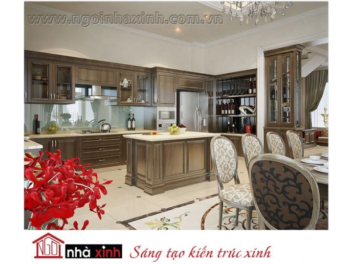 Mẫu nội thất  cao cấp phòng bếp cổ điển đẹp NNX-BCĐ13