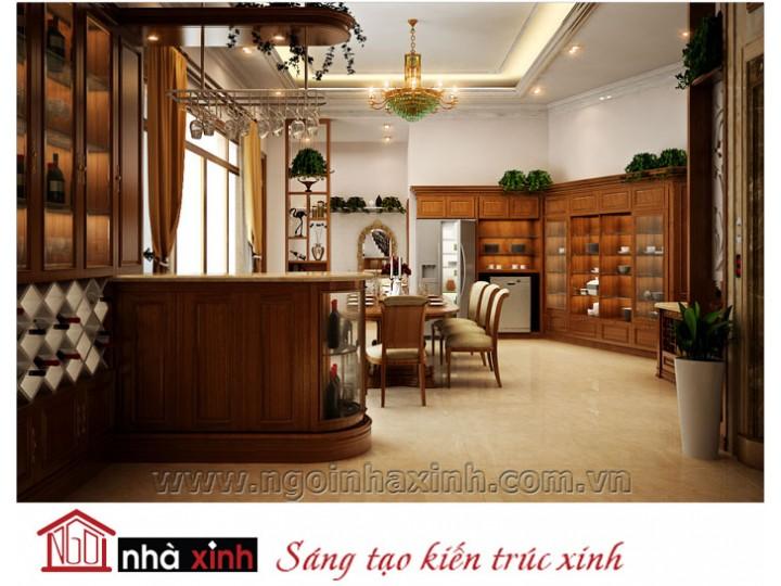 Mẫu nội thất  cao cấp phòng bếp cổ điển đẹp NNX-BCĐ04