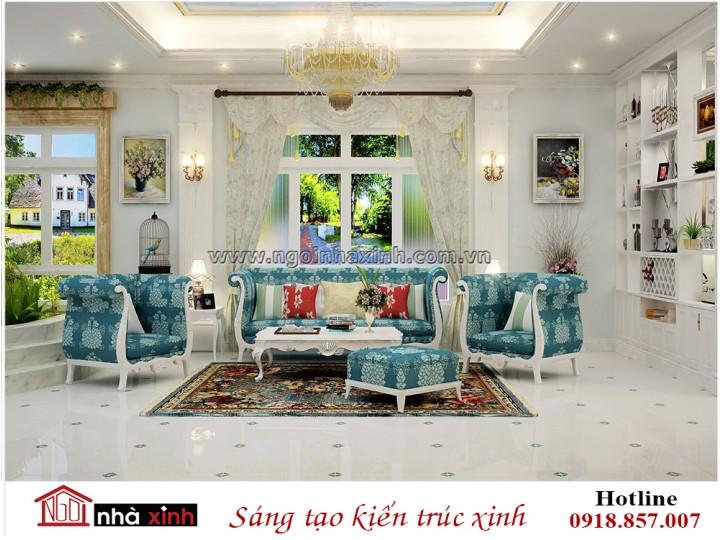 Mẫu nội thất đẹp | Phòng khách | Tân cổ điển | Cô Rạng - Tiền Giang | NT. NNX179