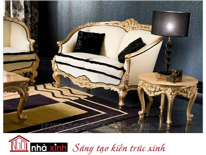 Mẫu nội thất mạ vàng ghế sofa NNX-SFMV-001