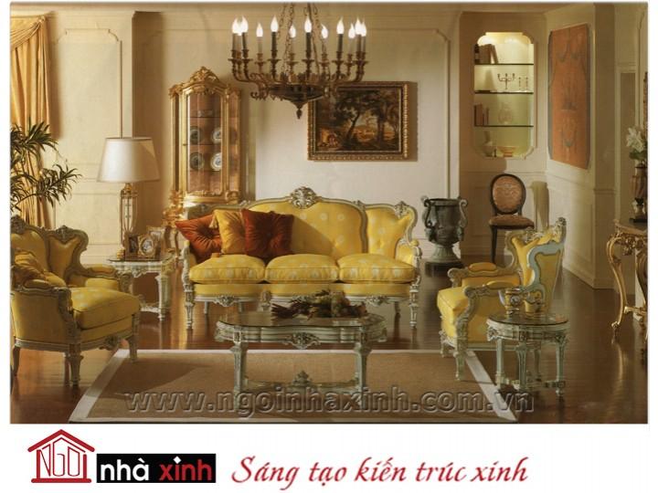 Mẫu nội thất mạ vàng ghế sofa NNX-SFMV-005