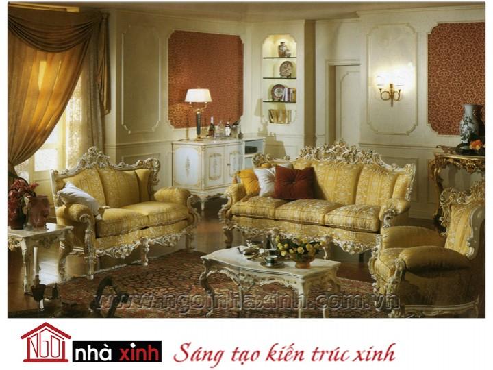 Mẫu nội thất mạ vàng ghế sofa NNX-SFMV-006