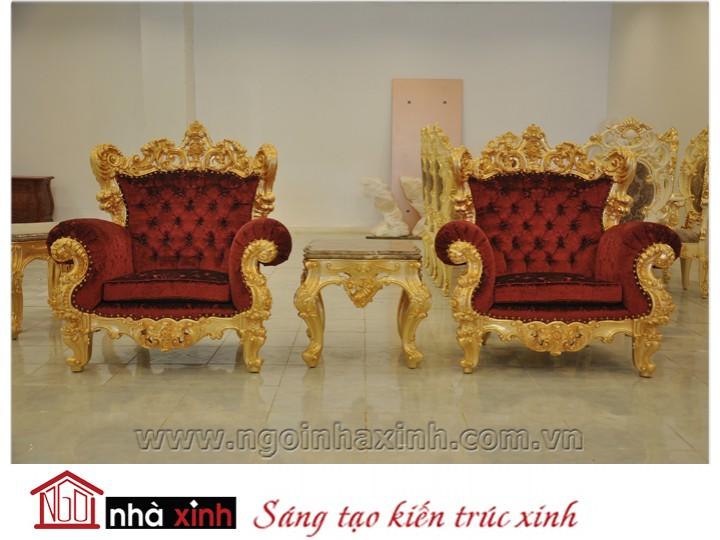 Mẫu nội thất mạ vàng ghế sofa NNX-SFMV-007
