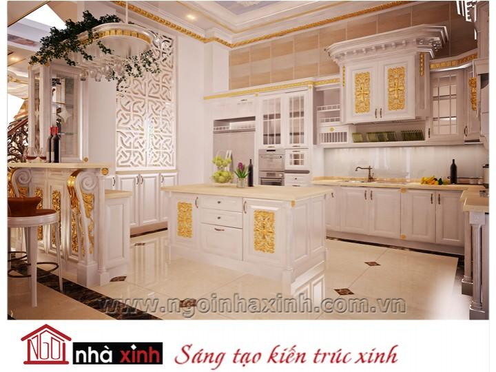 Mẫu nội thất mạ vàng phòng bếp phòng ăn đẹp NNX-PBPA-003
