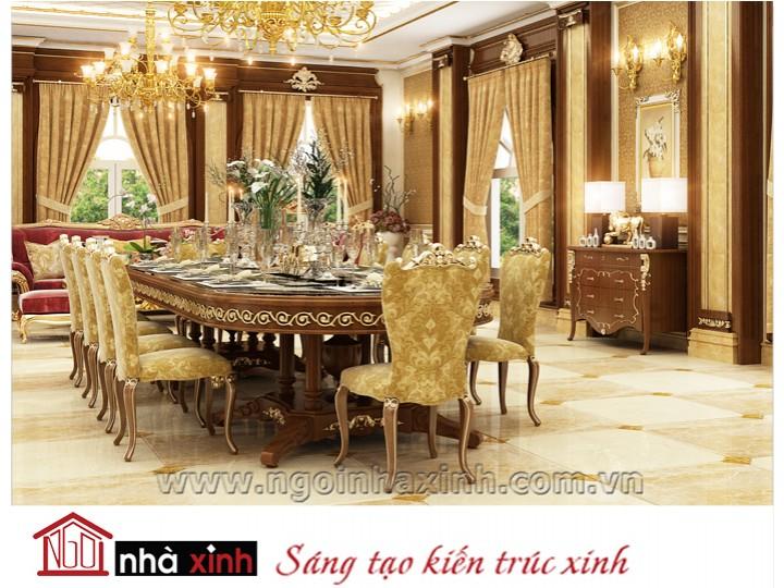 Mẫu nội thất mạ vàng phòng bếp phòng ăn đẹp NNX-PBPA-005