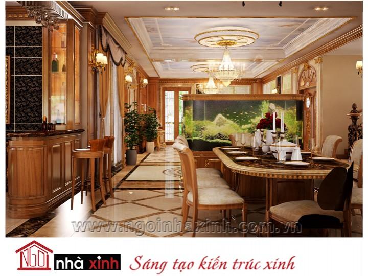 Mẫu nội thất mạ vàng phòng bếp phòng ăn đẹp NNX-PBPA-006