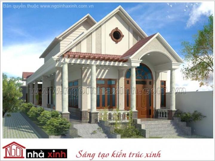 Mẫu Thiết Kế Biệt Thự Đẹp | Biệt Thự Vườn | Mái Dốc | 2 Mặt Tiền | Bác Hải – Vinh Long | BTNNX105
