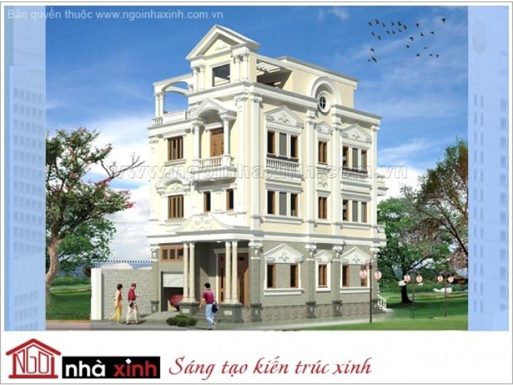 Mẫu Thiết Kế Biệt Thự Đẹp| Cổ Điển | Mái Bằng | 4 Tầng | 3 Mặt Tiền | Chị Thảo – TPHCM | BT.NNX 091