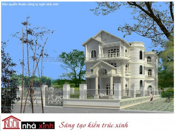 Mẫu Thiết Kế Biệt Thự Đẹp| Cổ Điển | Mái Dốc | 3 Tầng | 2 Mặt Tiền | Anh Thi – Bình Dương | BTNNX028