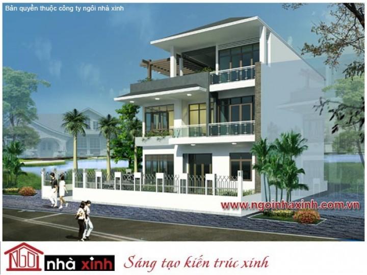 Mẫu Biệt Thự Đẹp Nhẹ Nhàng, Bay Bổng   Hiện Đại   Mái Dốc   3 Tầng   2 Mặt Tiền I Anh Trí– Gò Vấp   BTNNX053