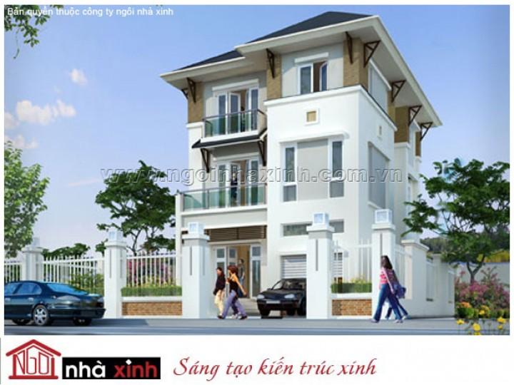 Mẫu Biệt Thự Đẹp Tinh Khôi | Hiện Đại | Mái Dốc | 3 Tầng | 2 Mặt Tiền | Cô Thúy – Kiên Giang | BTNNX011