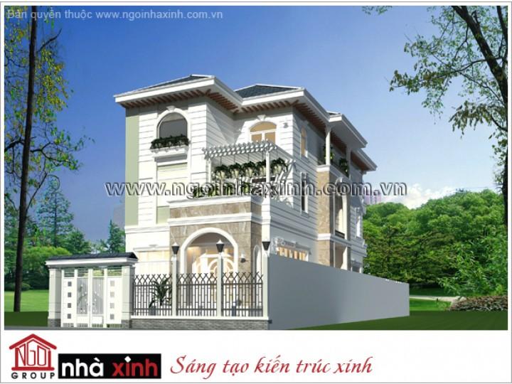 Mẫu Thiết Kế Biệt Thự Đẹp | Tân Cổ Điển | Mái Dốc | 3 tầng | 2 mặt tiền | Anh Đức – Nhà Bè | BTNNX016