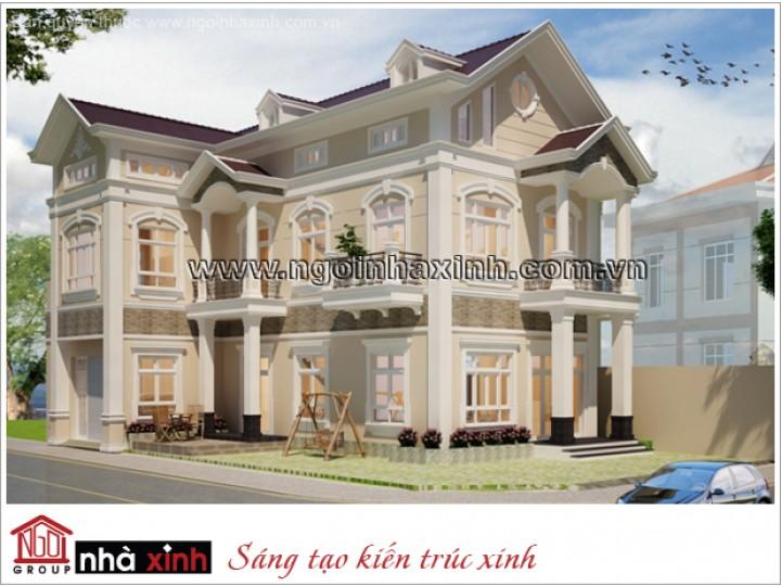 Thiết Kế Biệt Thự Đẹp | Tân Cổ Điển | Mái Dốc | 3 tầng | 2 mặt tiền | Anh Khôi – Quảng Bình | BTNNX123