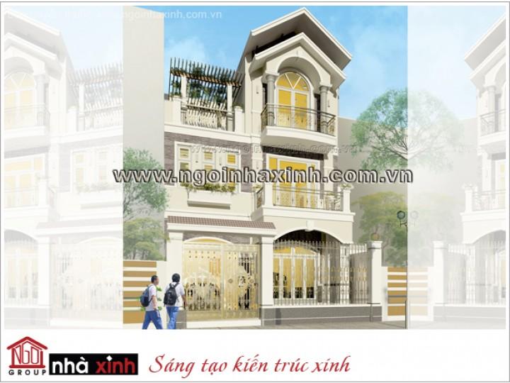 Mẫu Biệt Thự Phố Đẹp Tươi Mới | Cổ Điển | Mái Dốc | 3 Tầng | 1 Mặt Tiền | Anh Huynh – Vũng Tàu | BTNNX121