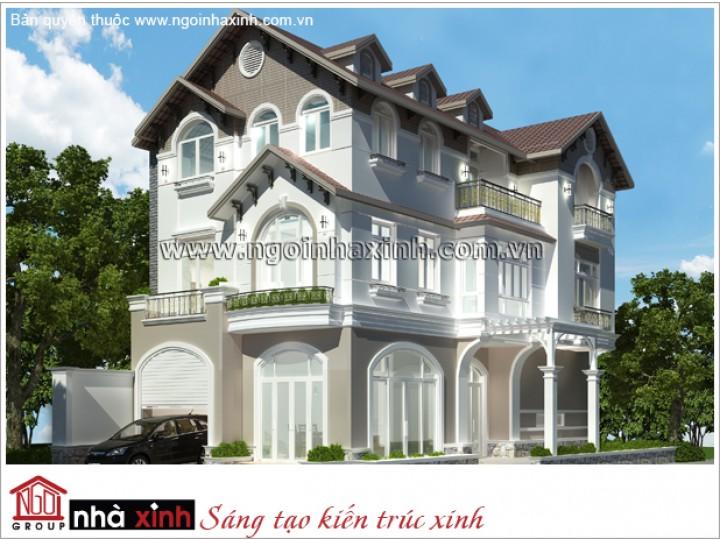 Thiết Kế Biệt Thự Đẹp | Tân Cổ Điển | Mái Dốc | 3 Tầng | 2 Mặt Tiền | Anh Kha - Tân Phú | BTNNX021