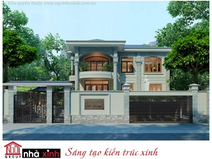 Mẫu Thiết Kế Biệt Thự Vườn Theo Phong Cách Zen (Thiền) | Tân Cổ Điển | Mái Dốc |  2 Tầng | 2 Mặt Tiền | Anh Lý - Đồng Nai  | BTNNX133