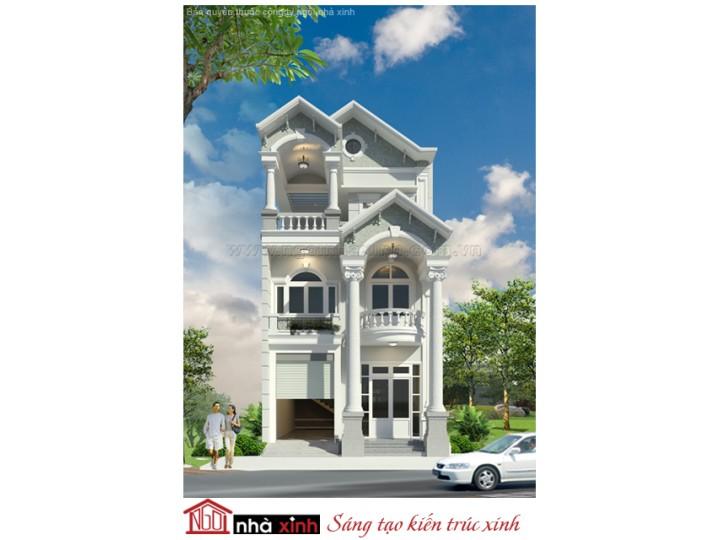 Mẫu Thiết Kế Nhà  Đẹp | Cổ Điển | Mái Dốc | 3 Tầng | 7M Mặt Tiền | Anh Minh - Bình Dương |  NPNNX119