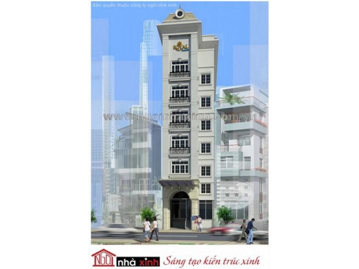 Mẫu Thiết Kế Nhà Phố Đẹp | Cổ Điển | Mái Dốc | 8 Tầng | 6M Mặt Tiền | Anh Hiền - Quận 3  | NPNNX021