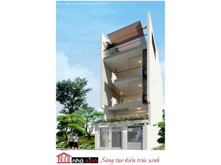 Mẫu Thiết Kế Nhà Phố Đẹp | Hiện Đại | Mái Bằng | 4 Tầng | 5M Mặt Tiền -  Quận Tân Phú  | NPNNX168