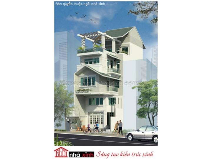 Mẫu Thiết Kế Nhà Phố  Đẹp | Hiện Đại | Mái Dốc | 4 Tầng | 6M Mặt Tiền | Anh Thường - Q. Gò Vấp | NPNNX082