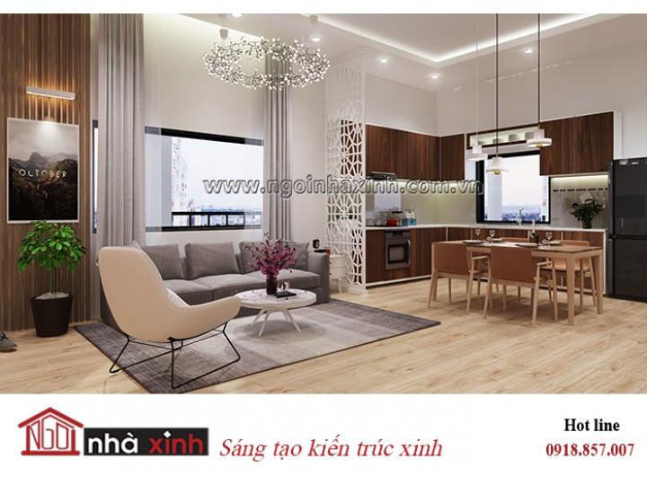 Mẫu thiêt kế phòng khách bếp | Hiện đại | Nhà Chị Hoa - Nguyễn Văn Luông Quận 6