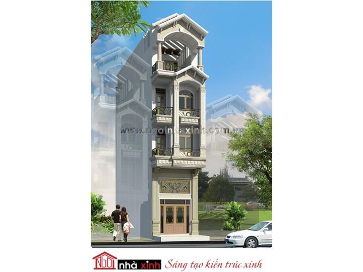 MẫuThiết Kế Nhà Phố Đẹp | Cổ Điển | Mái Dốc | 4 Tầng | 4M Mặt Tiền | Anh Huy - Quận 2 | NPNNX165