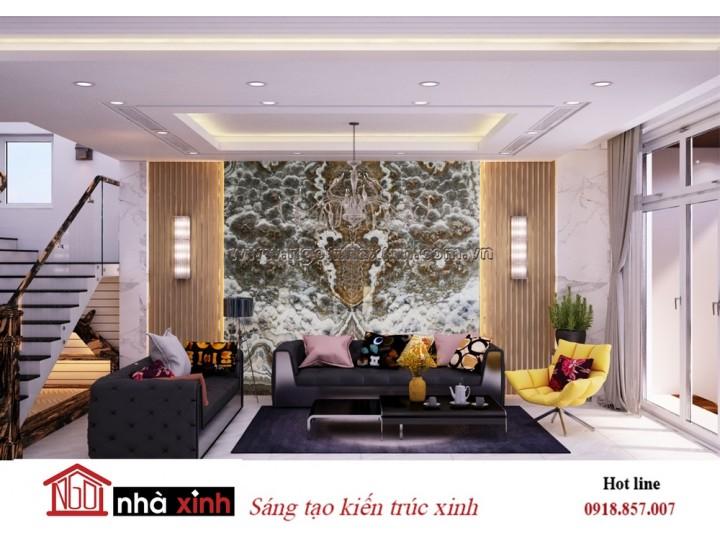 nội thất phòng khách đẹp mang phòng cách hiện đại nhà anh Lâm do Nhà Xinh thiết kế