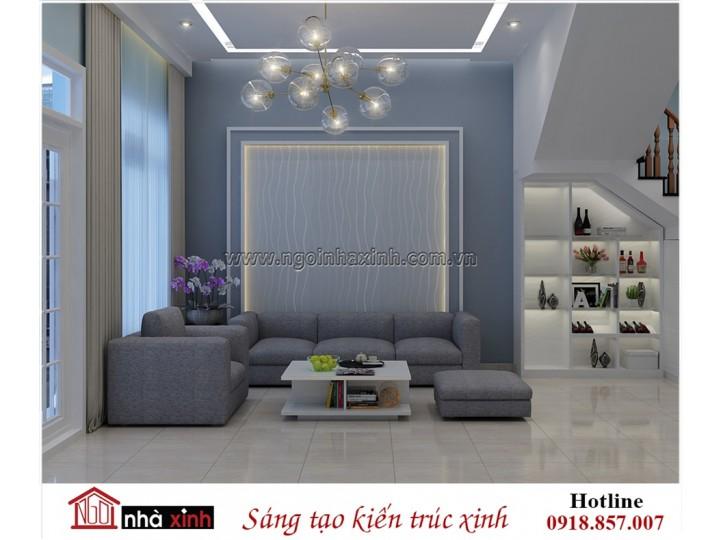 Phòng khách thanh lịch với gam màu xanh biển